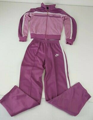 Vintage NIKE Womens Track Suit Jacket Pants Size Small Purple Pink White
