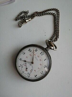 Rare Antique  Solid Silver REVUE Swiss Made Pocket Watch  marked 0.800  Working