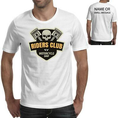 Skull Riders Club Motorcycle Cafe Racer Pistons Biker Gift Mens Printed T-shirt