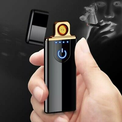 Rechargeable Electric Lighter USB Touch induction Windproof Ultra Slim Cigarette