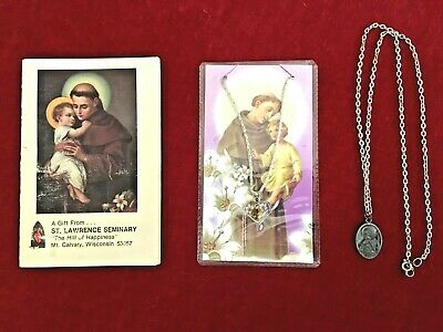 St . Anthony Of Padua Prayer Card & Medal, Book Of Prayers And Medal On Chain