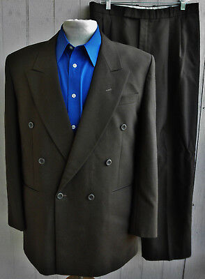 CHRISTIAN DIOR MONSIEUR Mens Brown Double-Breasted 2-Piece Suit 42R 34x28.5