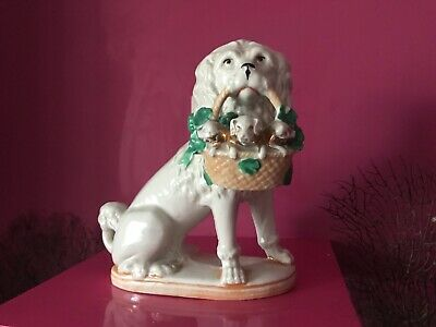 19th Century German Antique Porcelain Poodle carrying basket of piglets & clover