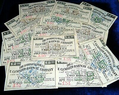 Lot of Hornellsville and Canisteo Railway Bond 20 coupons Hornell NY 1904-1905