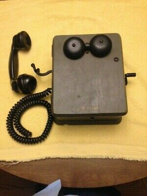 Vintage Military Kellogg Generator Hand Crank Telephone With Western Electric