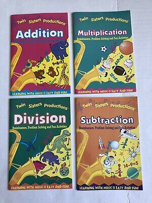 Lot 4 Twins Sisters Productions Workbooks Subtraction Addition Division Multiply