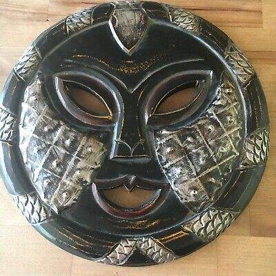 African Tribal Wood Carved Mask Moon Face Round Wall art Silver Paint 11 3/4 in