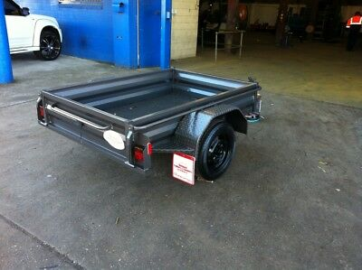NEW 7x4 HEAVY DUTY TRAILER WITH 1 YR REGO FREE SPARE & JOCKEY WHEEL
