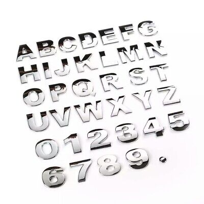 Chrome Quality 3D Self-adhesive Letter number car badge sticker for Home & Auto.