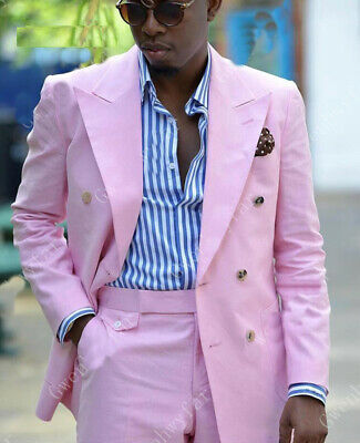 Pink Mens Wedding Suits Peak Lapel Groomsmen Tuxedos Double-breasted Prom Dinner