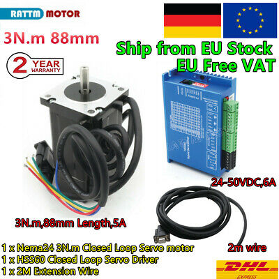 〖EU〗 3N.m Nema24 88mm Closed Loop CNC Stepper Motor 6A&Servo Driver&2m Cable Kit
