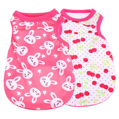 Spring Summer Printing Cotton Cute Puppy Small Dog Vest Clothes Pet Shirt K1B