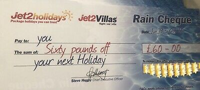 1x Jet2Holidays £60 Rain Cheque voucher - OCT 2020 new codes