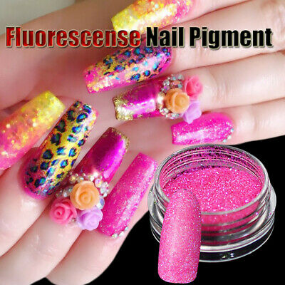 3D-Holographic Nail Fluorescence Powder Neon Nail Pigment Powder Glitter 6Colors