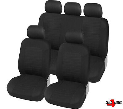 For Vw Golf Polo Black Breathable Fabric Front & Rear Car Seat Covers Full Set