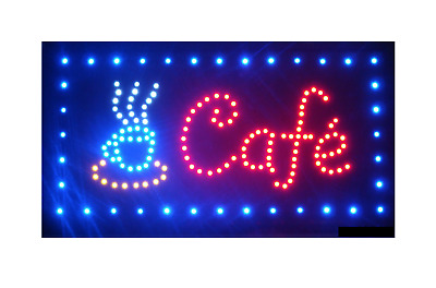 Large LED Cafe Sign Flashing Size 48x25CM Business Board Electric Shop Open Bar