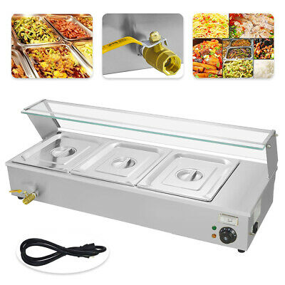 30L 3 Pan Food Warmer Holder Catering Kitchen Electric Bain Marie & Lids