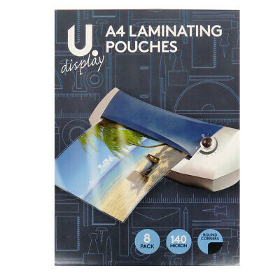 A4 Laminating Pouches with Round Corners - U Display - Pack of 8