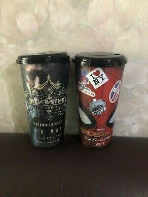 JOHN WICK 3, Spider-Man Far From Home movie Plastic CUP / GLASS cinema  theater