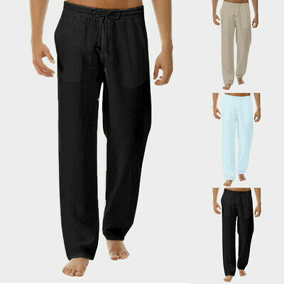 Men's Summer New Style Simple And Fashionable Pure Cotton And Linen Trousers AU