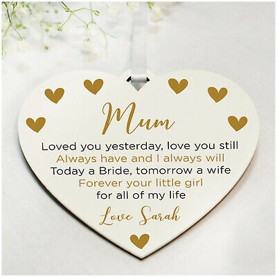 PERSONALISED Mother of the Bride Thank You Gifts Love Heart Plaques - 6 Colours
