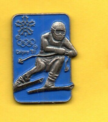 Pin's Pins lapel hat Olympic games jeux olympique CALGARY 88 1988 Slalom Ski