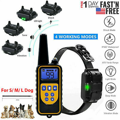 Dog Shock Training Collar Rechargeable 2624ft Remote Control IP67 Waterproof US