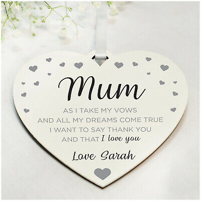 PERSONALISED Mother of the Bride Mum Heart Plaque Thank You Gifts - 6 Colours