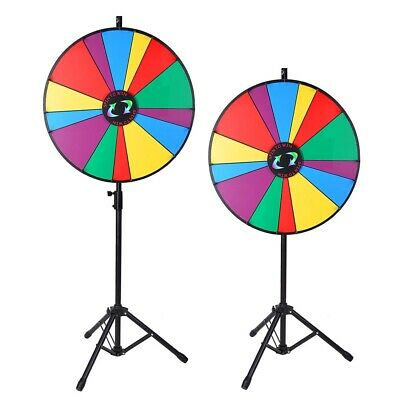 """24"""" Color Prize Wheel Dry Erase Fortune Spinning Tabletop Floor Stand Game Party"""