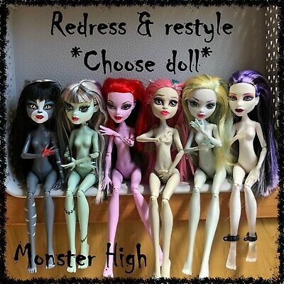 MONSTER HIGH Nude Doll, Redress / Restyle, OOAK ~SELECT DOLL~ 1 incl. (lot 17)