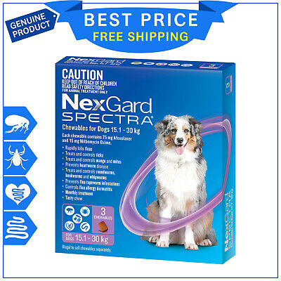 NEXGARD SPECTRA for Dog 15.1 to 30 Kg PURPLE Pack 3 Chews Flea Heartworm Control