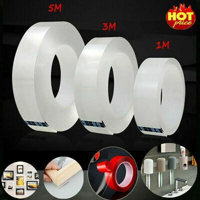 Double-Sided Nano Adhesive Grip Tape Traceless Washable Invisible Gel Home Tape