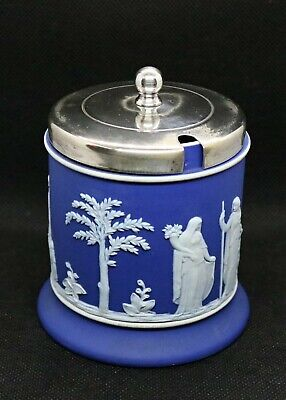 Antique Wedgewood Jasperware Cobalt Blue Condiment / Jam Pot Height 10.5cm