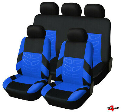 For Nissan Juke Micra Blue Black Soft Fabric Front Rear Car Seat Covers Full Set