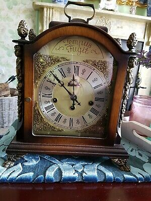 Beautiful Hermle 8 day chiming mantlepiece clock, & decorative brass detailing.
