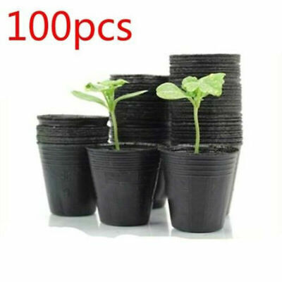 100 Pcs Plastic Nursery Pot Flower Seedling Planter Succulent Holder Garden Home
