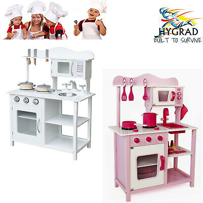 New Large Kids Pink/White Wooden Play Kitchen Children's Play Pretend Set Toy UK