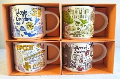 Starbucks Disney World Parks Been There Mug Set 4 Magic Animal Kingdom EPCOT New