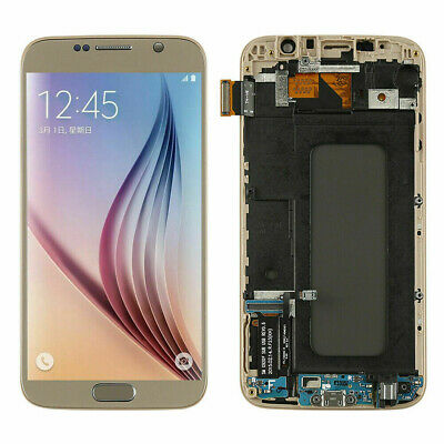 Neu Für Samsung Galaxy S6 SM-G920F LCD Display Touch Screen Gold +Rahmen AADE