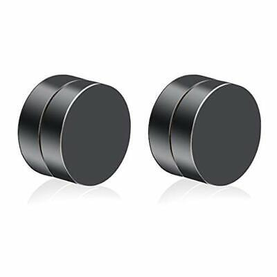 Black Pair Magnetic Earrings Ear Stud Mens Womens No Piercing Jewellery Round