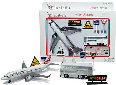 Virgin Australia Airport Playset including diecast toy plane and bus.