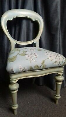 French Duck Egg Shabby Chic Chalk Painted Bedroom Nail Bar Chair Gold Antique