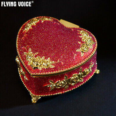 Vintage Heart Music Box Rose Emboss Wind Up Jewelry Box Birthday Present Gifts