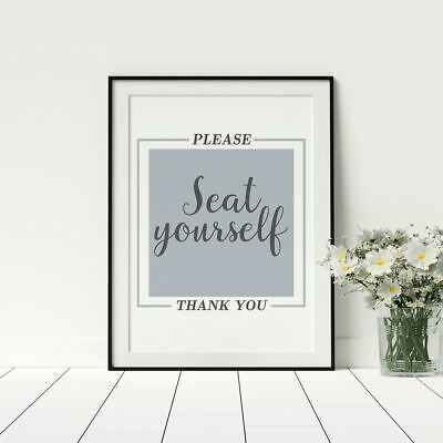 Please Seat Yourself Funny Bathroom Artwork Poster Prints Home Décor Framed
