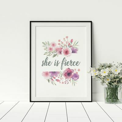 She Is Fierce Poster Funny Female Quotes Artwork Prints Bedroom Décor
