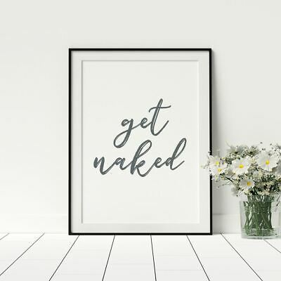 Get Naked Typology Funny Print Bathroom Wall Art Stylish Home Décor