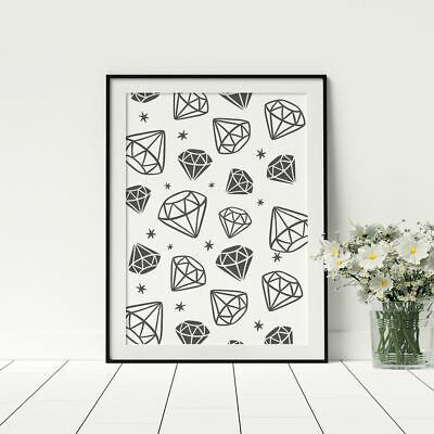 Diamonds Poster Fashionable Wall Décor Bedroom Prints Framed Artwork
