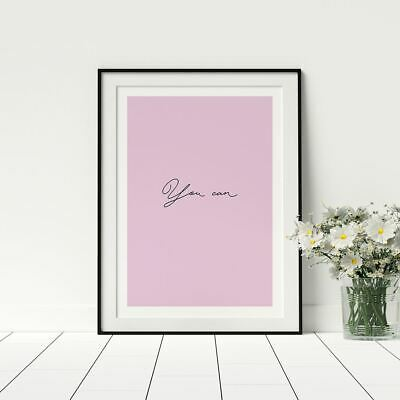 You Can Pink Typology Quote Feminist Empowerment Framed Print Female Motivation