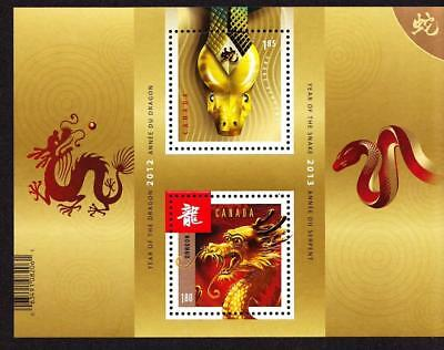 Canada MNH 2013 souvenir sheet sc# 2600a Year of the Dragon/Snake transitional