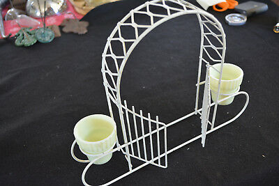 Wire Art Garden Arch With Two Vaseline Glass Planters 2 Swinging Gates